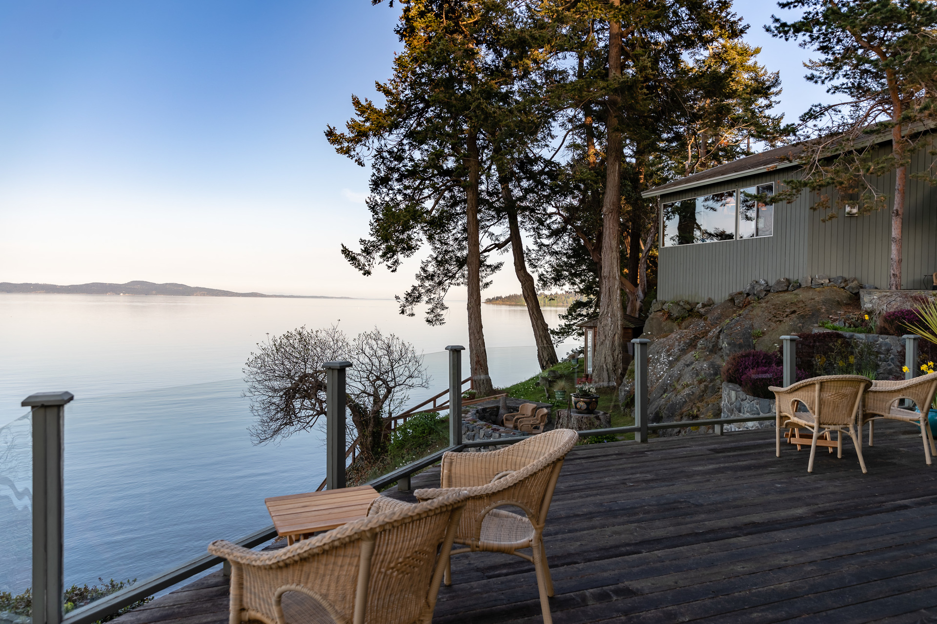 The Guest House From The Main House Deck at 4855 Major Road, Cordova Bay, Saanich East