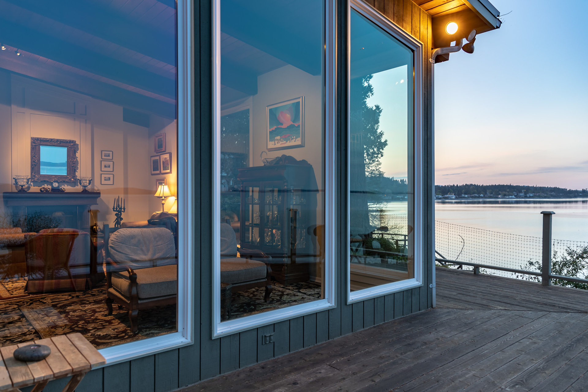 Looking Into The Main House Living Room From The Deck at 4855 Major Road, Cordova Bay, Saanich East
