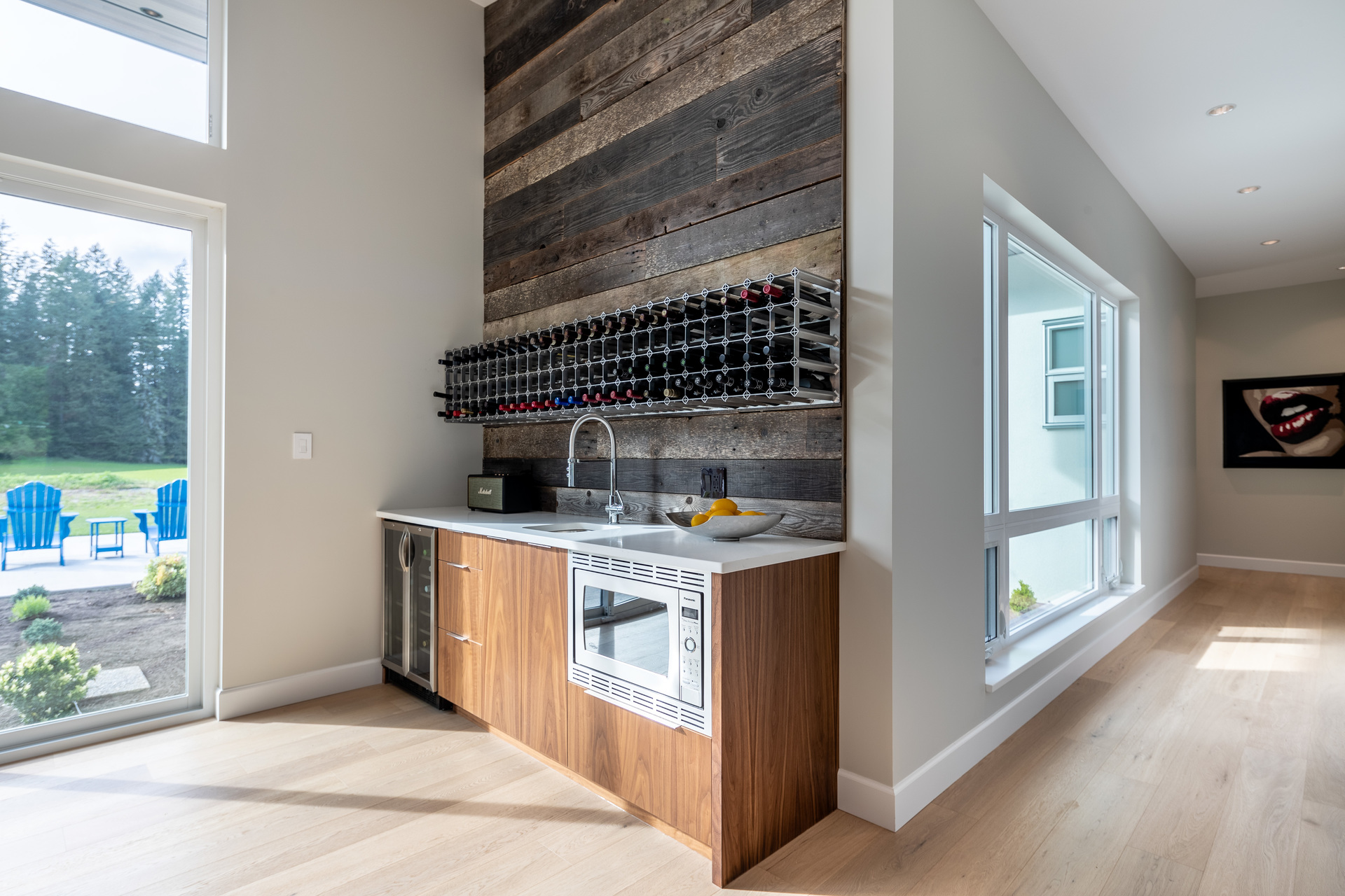 Wet Bar With Reclaimed Wood Backsplash at 5101 Jagtar's Way, Prospect Lake, Saanich West