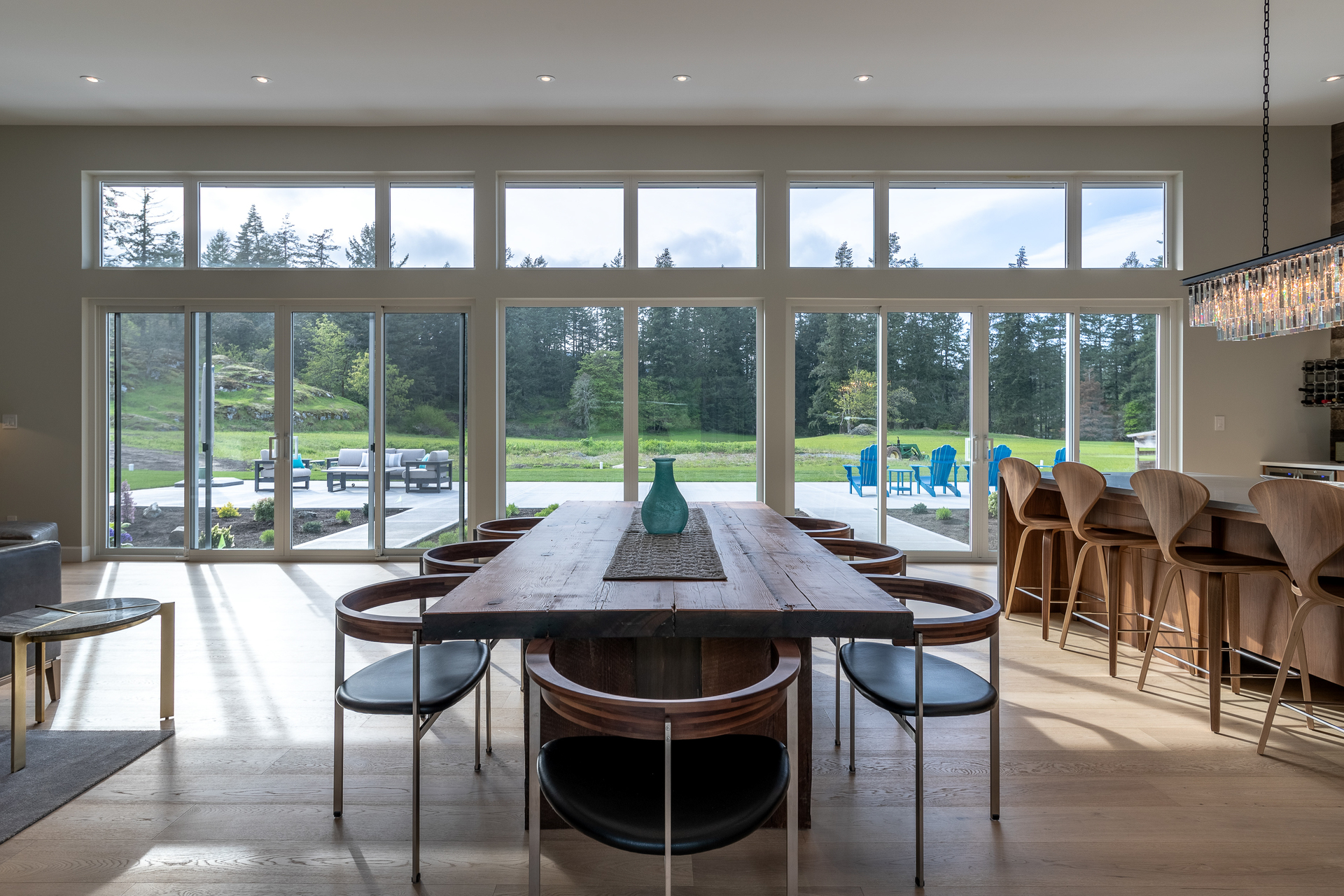 Massive West Facing Windows Looking Onto Pasture & Forest at 5101 Jagtar's Way, Prospect Lake, Saanich West