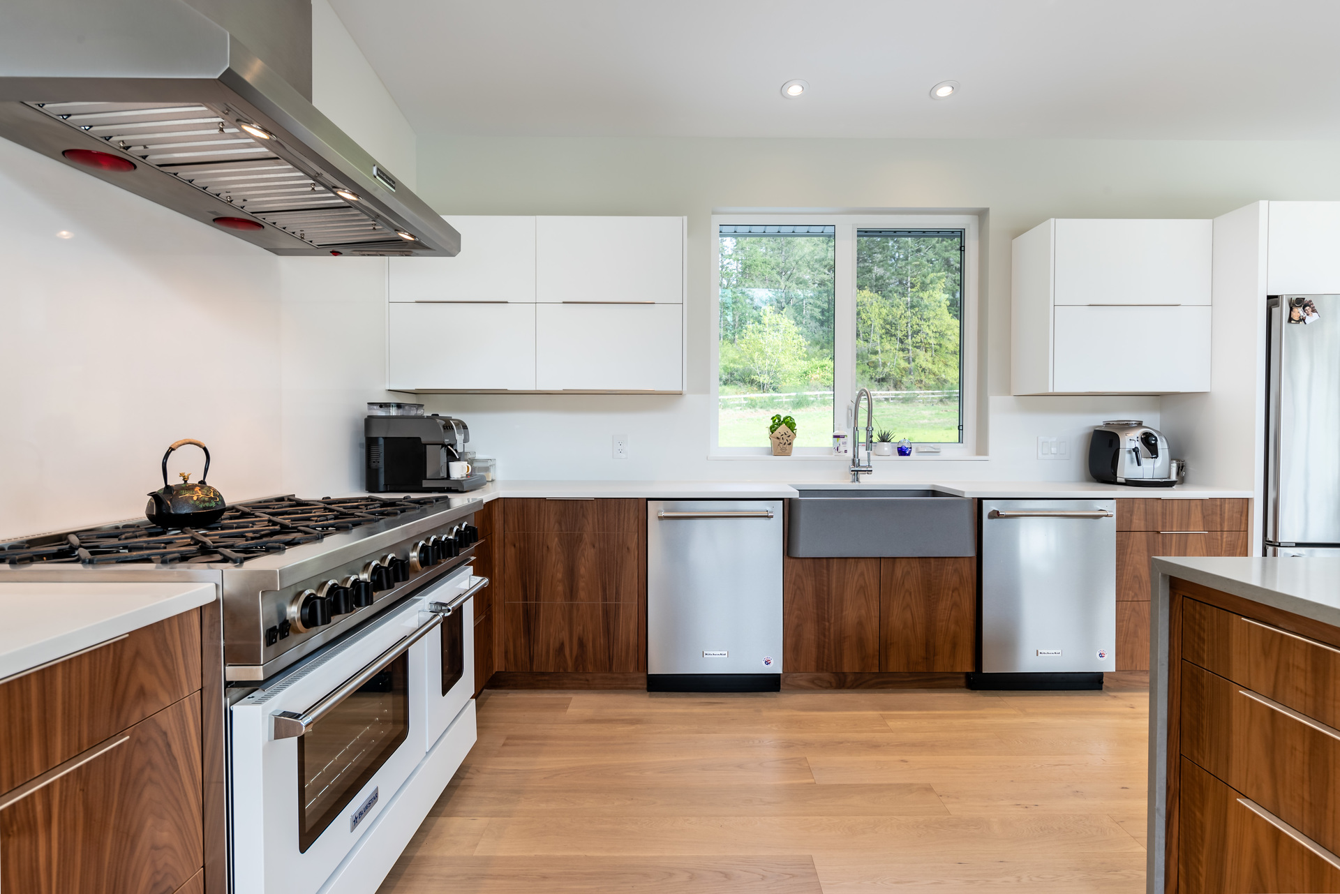 Stylish Wood-Accented Kitchen at 5100 & 5101 Jagtar's Way, Prospect Lake, Saanich West