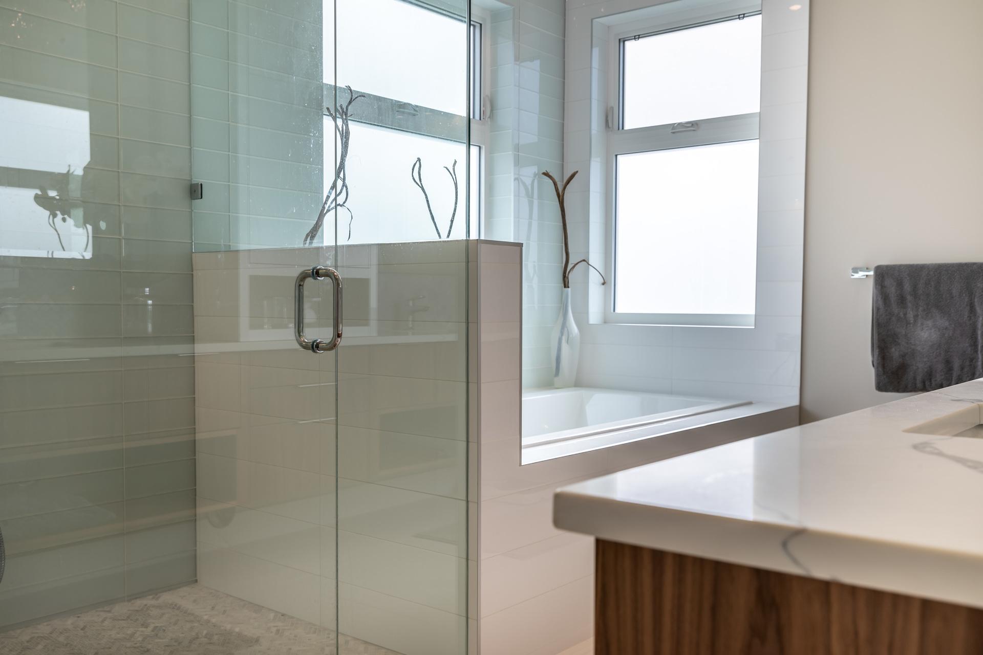 Glassed & Tile Shower at 5100 & 5101 Jagtar's Way, Prospect Lake, Saanich West