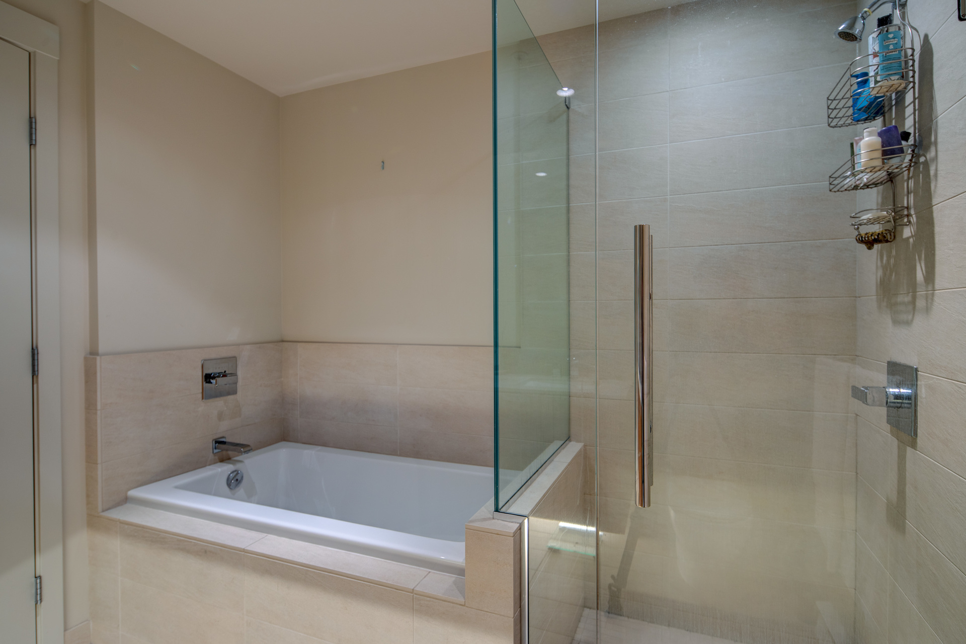 Master Ensuite Soaker Tub & Shower at 115 - 365 Waterfront Crescent, Rock Bay, Victoria