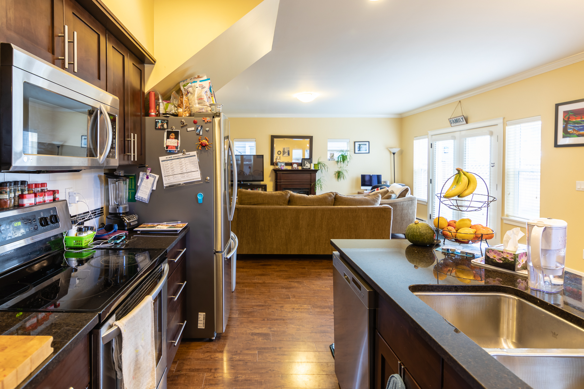 Looking from Kitchen to Living Room at 3288 Merlin Road, Langford Langford, Vancouver Island