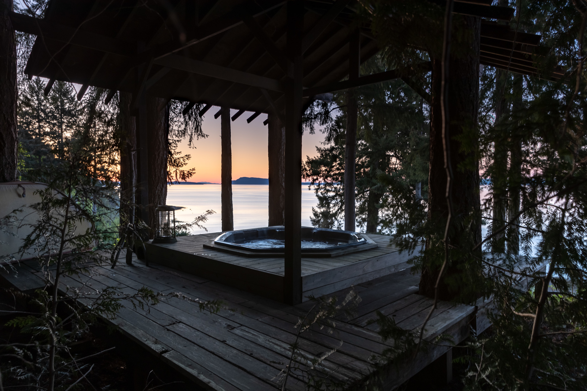 Secluded Hot Tub at 5101 Island Highway West, Qualicum North, Oceanside