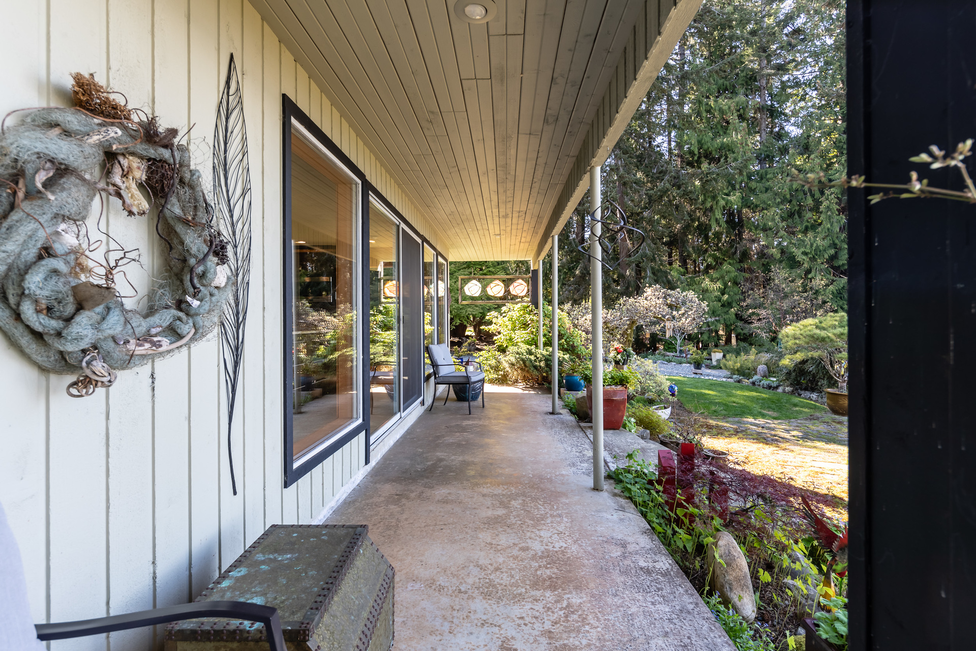 Main Rear Kitchen Patio at 5101 Island Highway West, Qualicum North, Oceanside