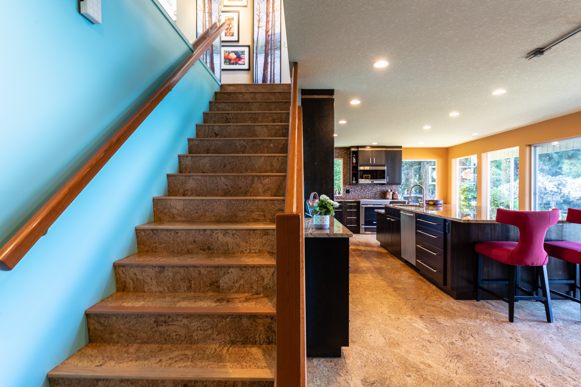 Stairway To First Master Suite at 5101 Island Highway West, Qualicum North, Oceanside