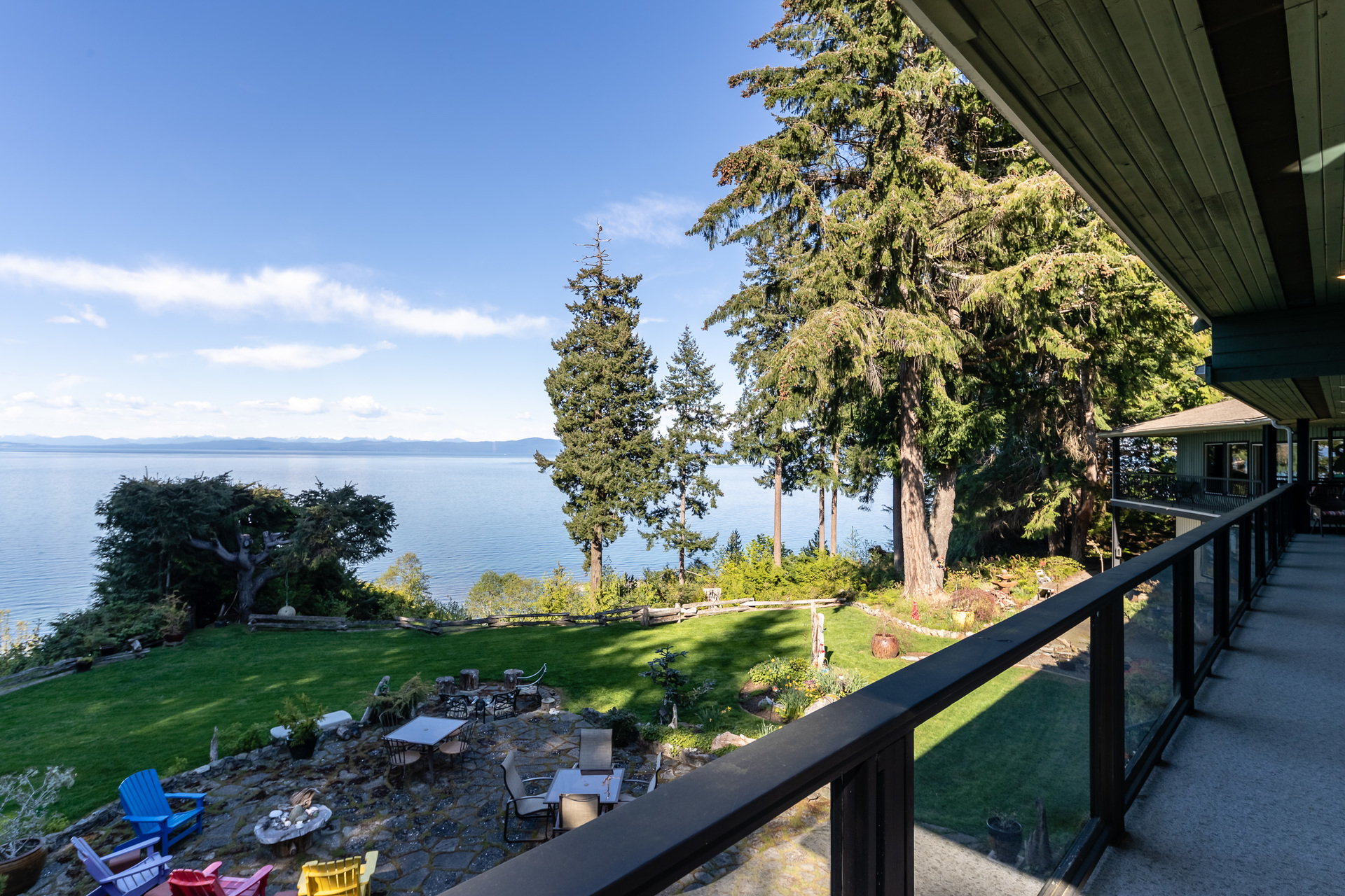 First Master Suite Balcony at 5101 Island Highway West, Qualicum North, Oceanside