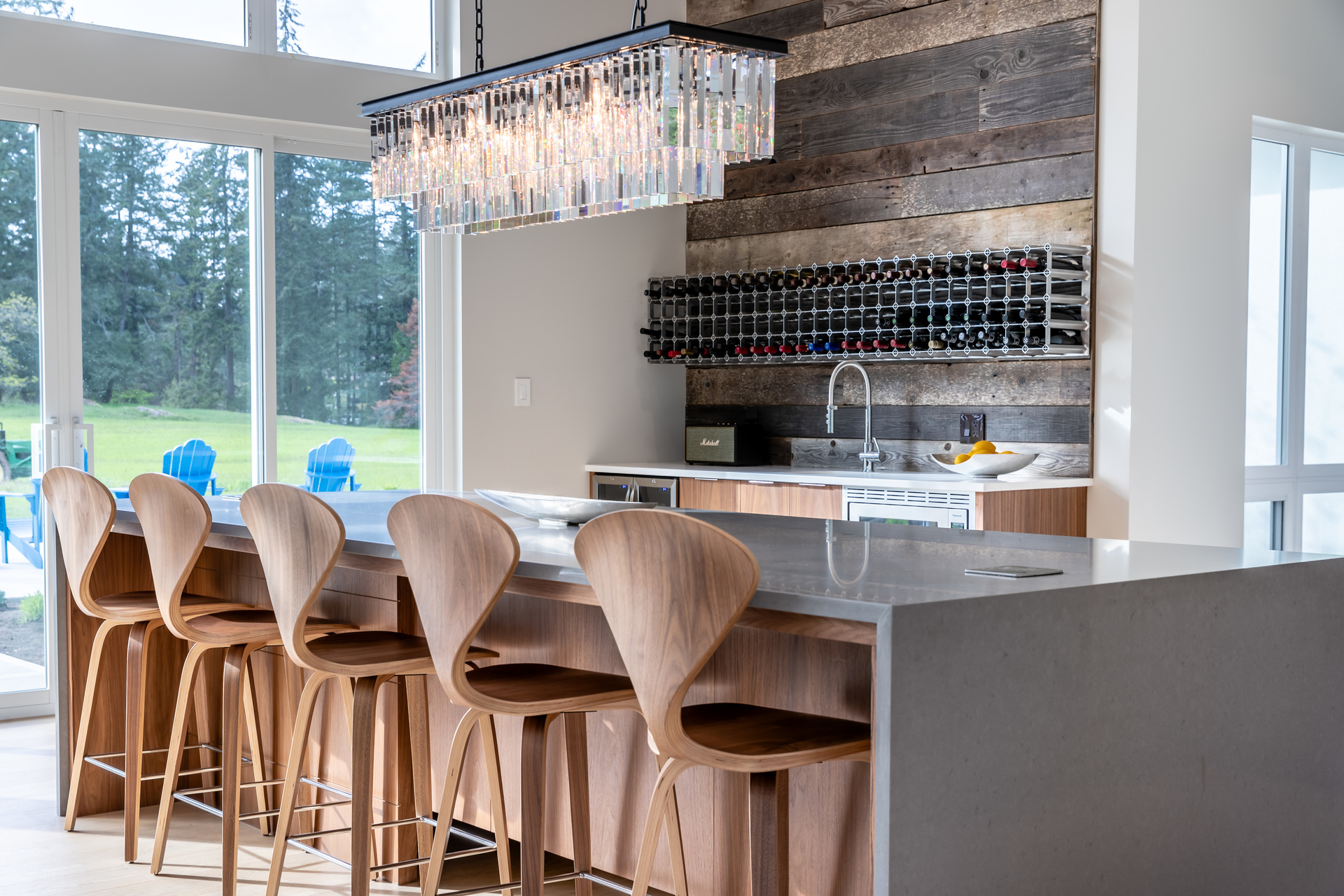 Wet Bar & Reclaimed Wood Accent Wall at 5101 Jagtar's Way, Victoria, Vancouver Island,