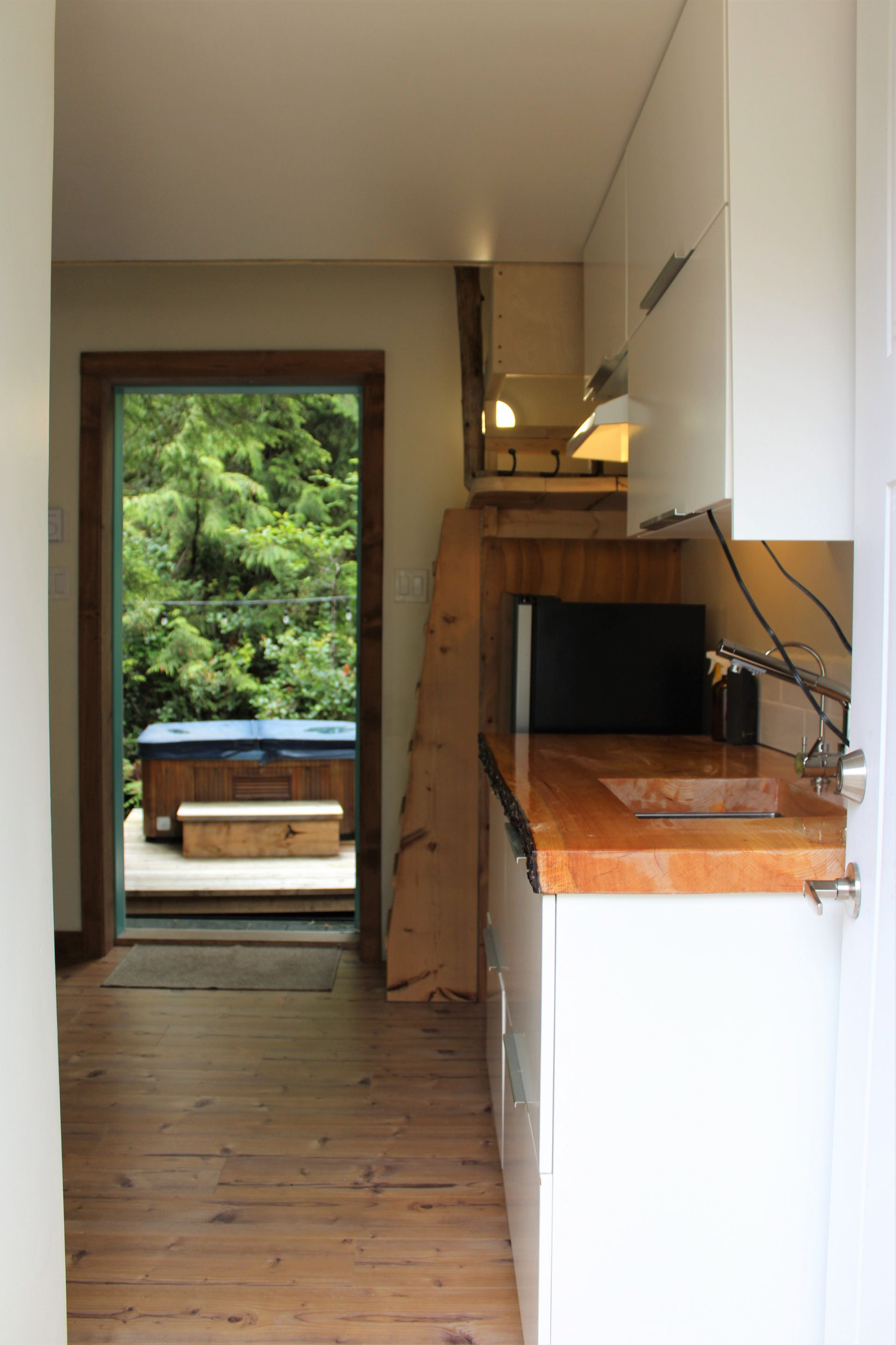 Kitchen of 1st Tiny Home at 1430 Pacific Rim Highway, Tofino, Port Alberni and West Coast