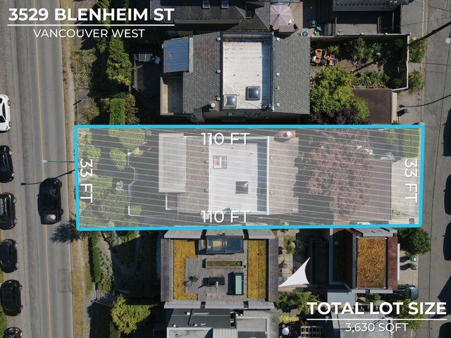 lot-dimensions_final at 3529 Blenheim Street, Dunbar, Vancouver West