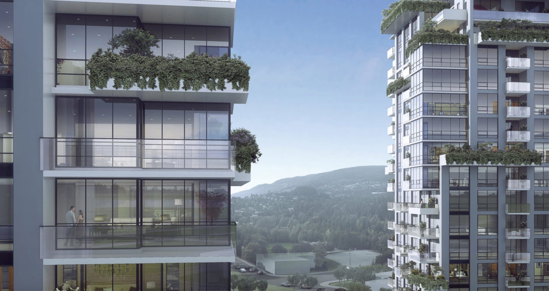park-west-at-lions-gate-plants-on-some-balconies at Park West at Lions Gate Village (1633 Capilano Road, North Vancouver)