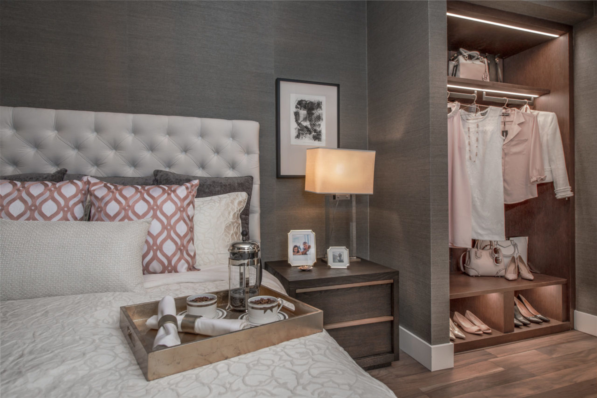 park-west-bedroom-and-closet at Park West at Lions Gate Village (1633 Capilano Road, North Vancouver)