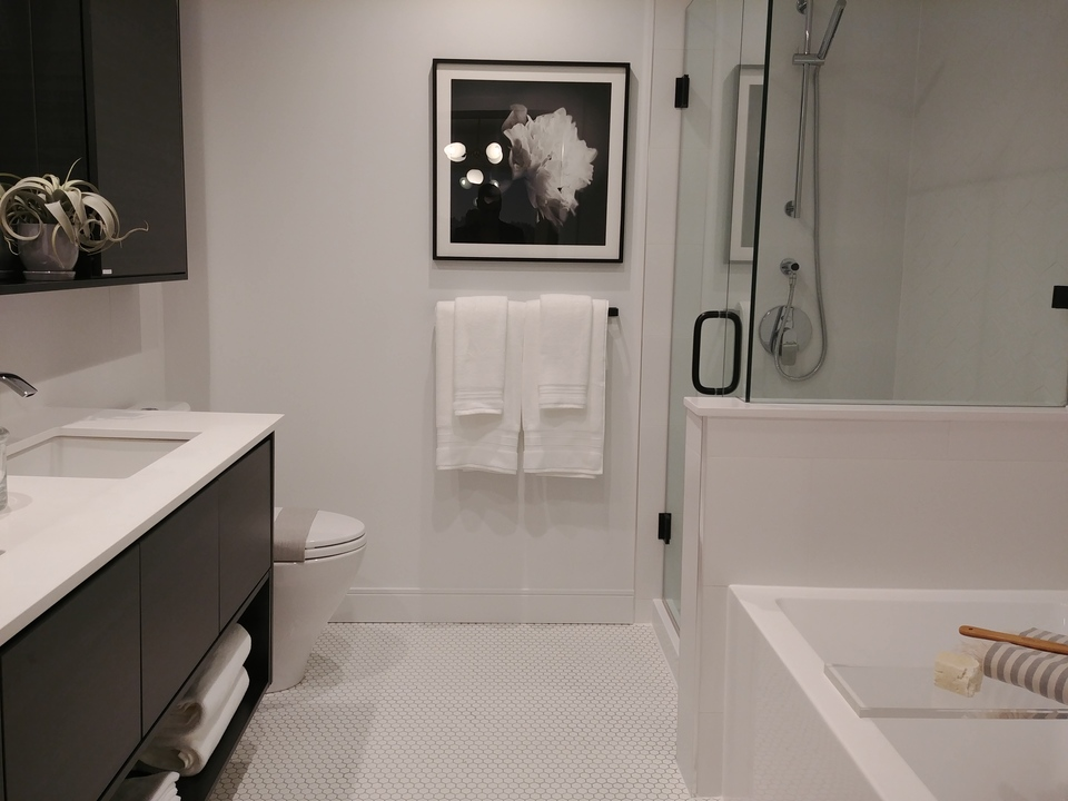 50-electronic-ensuite-bathroom-dark-colour-scheme at 50 Electronic Phase 1 and 2 (50 Electronic Avenue, Port Moody Centre, Port Moody)