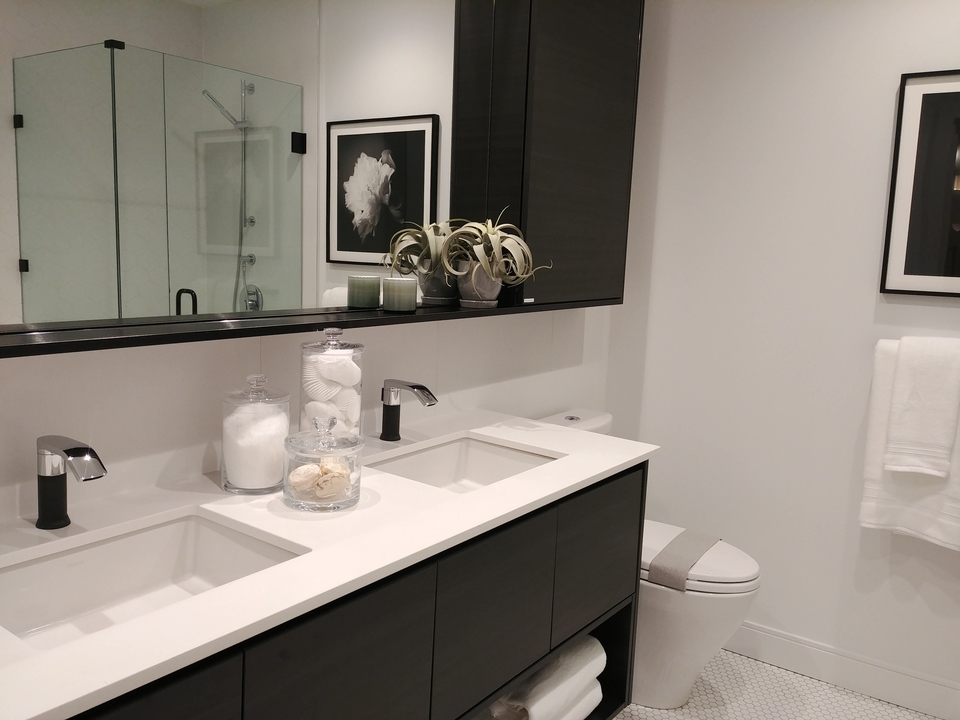 50-electronic-ensuite-double-sinks-dark-colour at 50 Electronic Phase 1 and 2 (50 Electronic Avenue, Port Moody Centre, Port Moody)