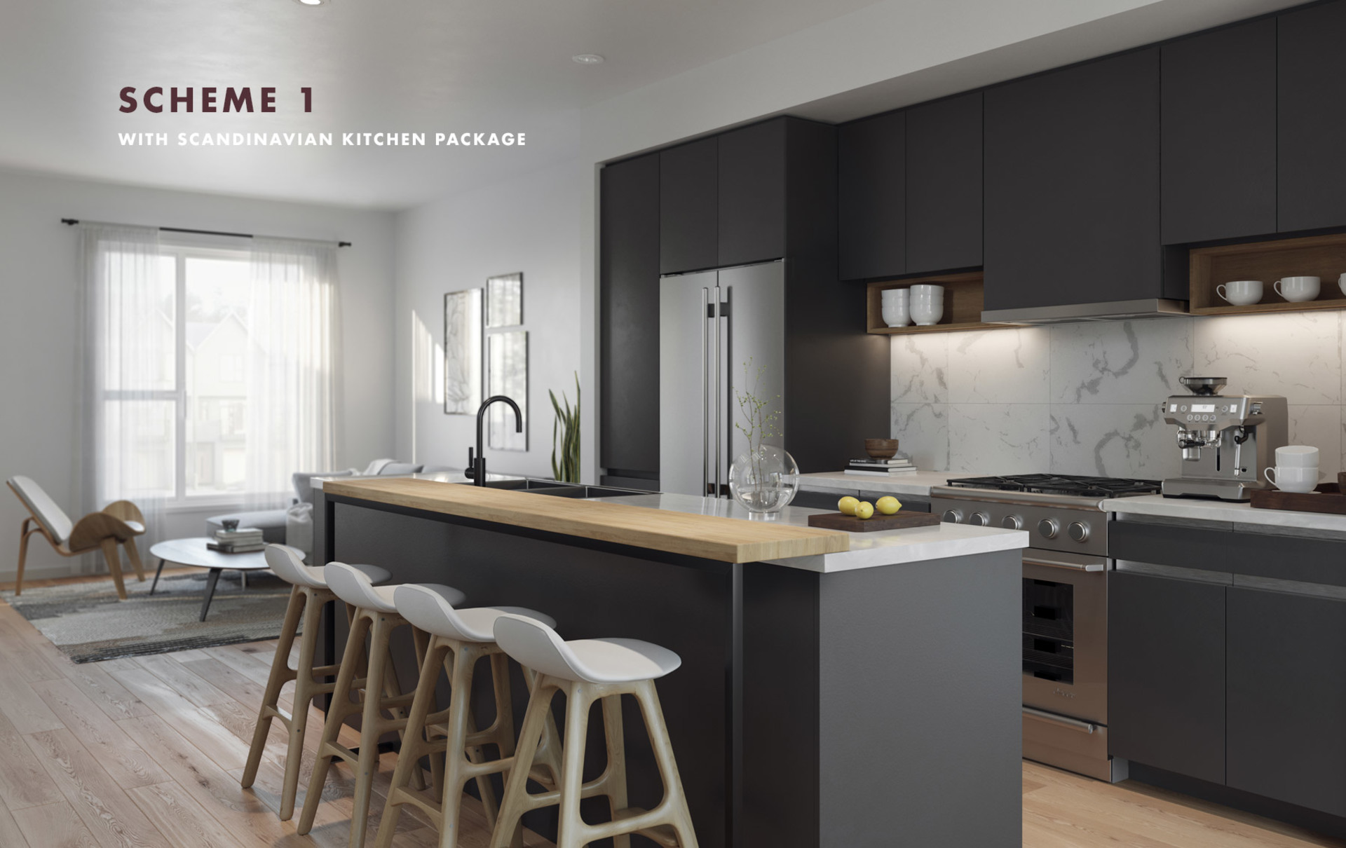 aalto-kitchen-dark-colour at Aalto Townhomes (1228 Hudson Street, Coquitlam)