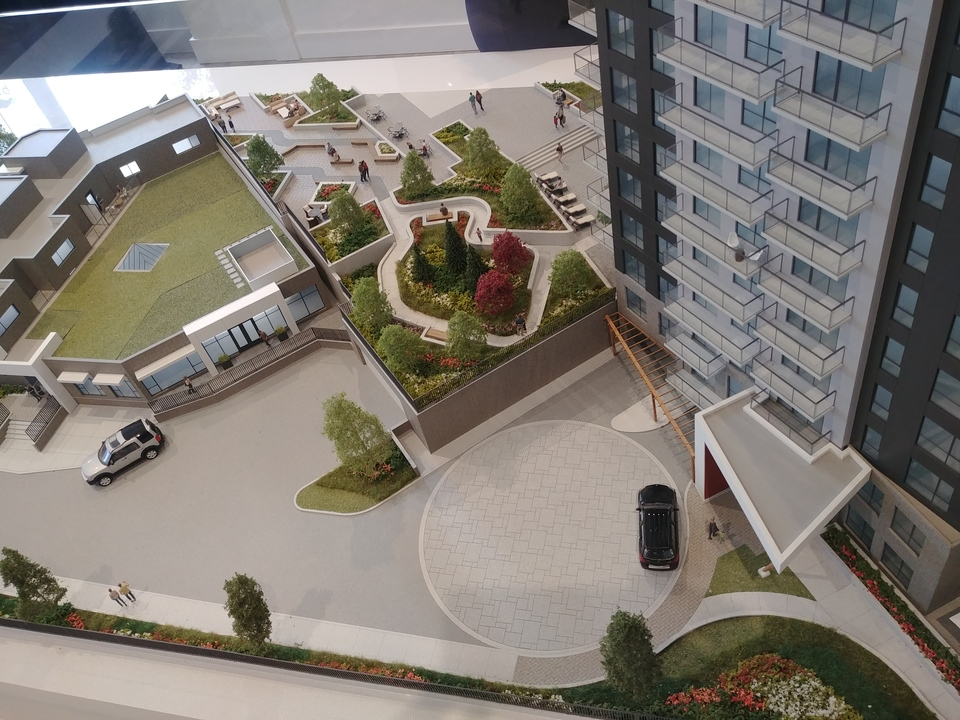 centra-aerial-view-of-amenity-garden-and-lounge at Centra Surrey City Centre (13868 101 Avenue, Whalley, North Surrey)