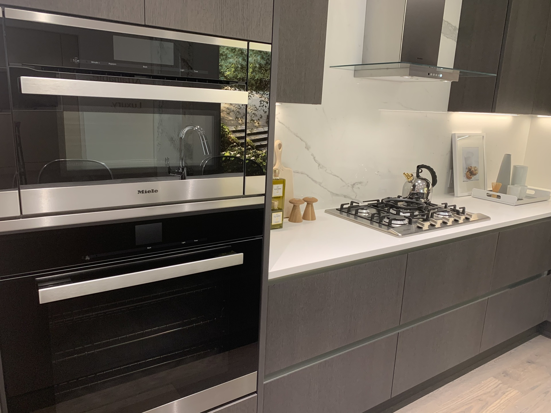 Voyce display kitchen with Miele speed and convection ovens at Voyce ( Cambie Street, Cambie, Vancouver West)