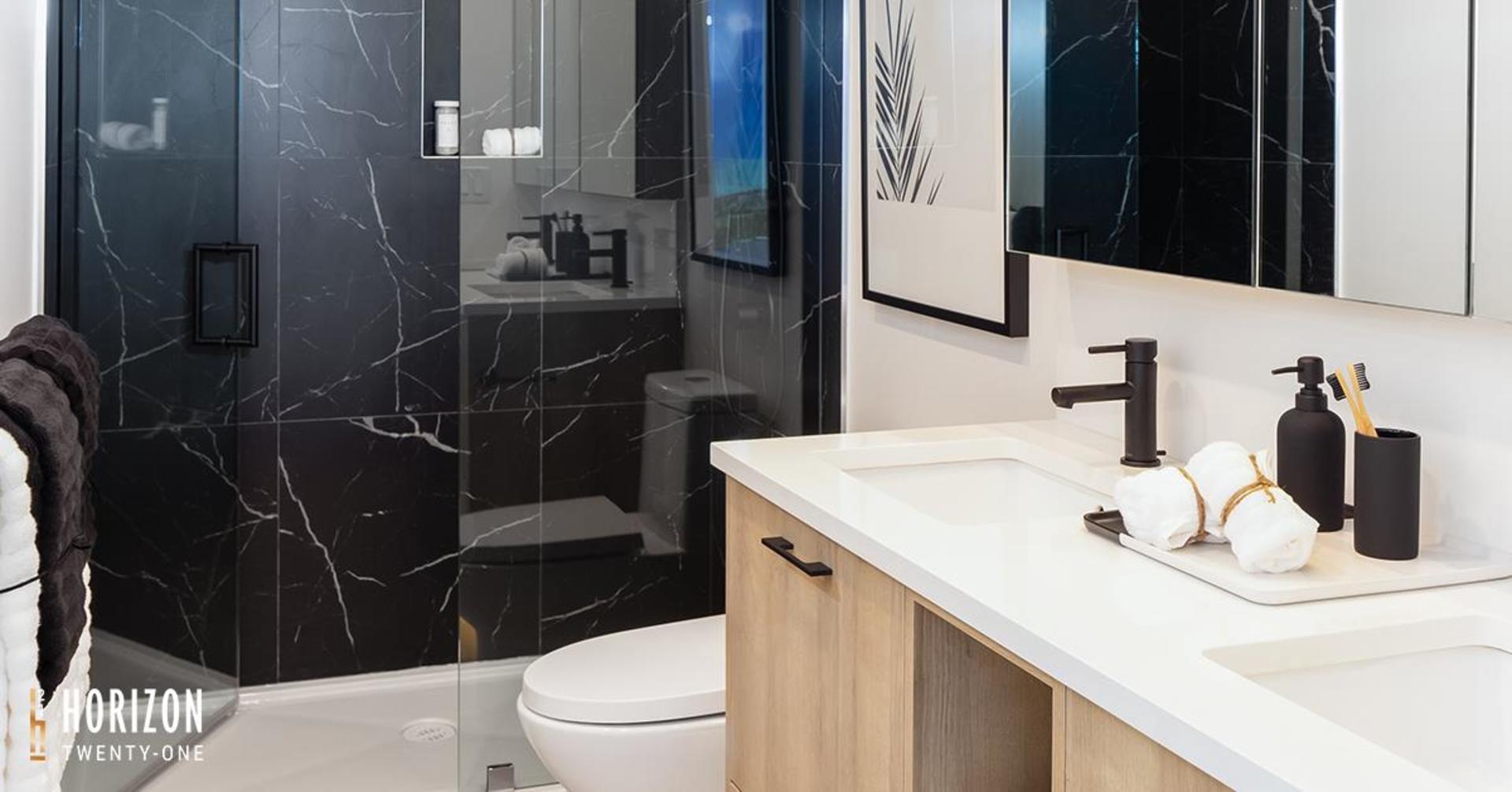 horizon-21-bathroom at Horizon 21 (218 Blue Mountain, Maillardville, Coquitlam)