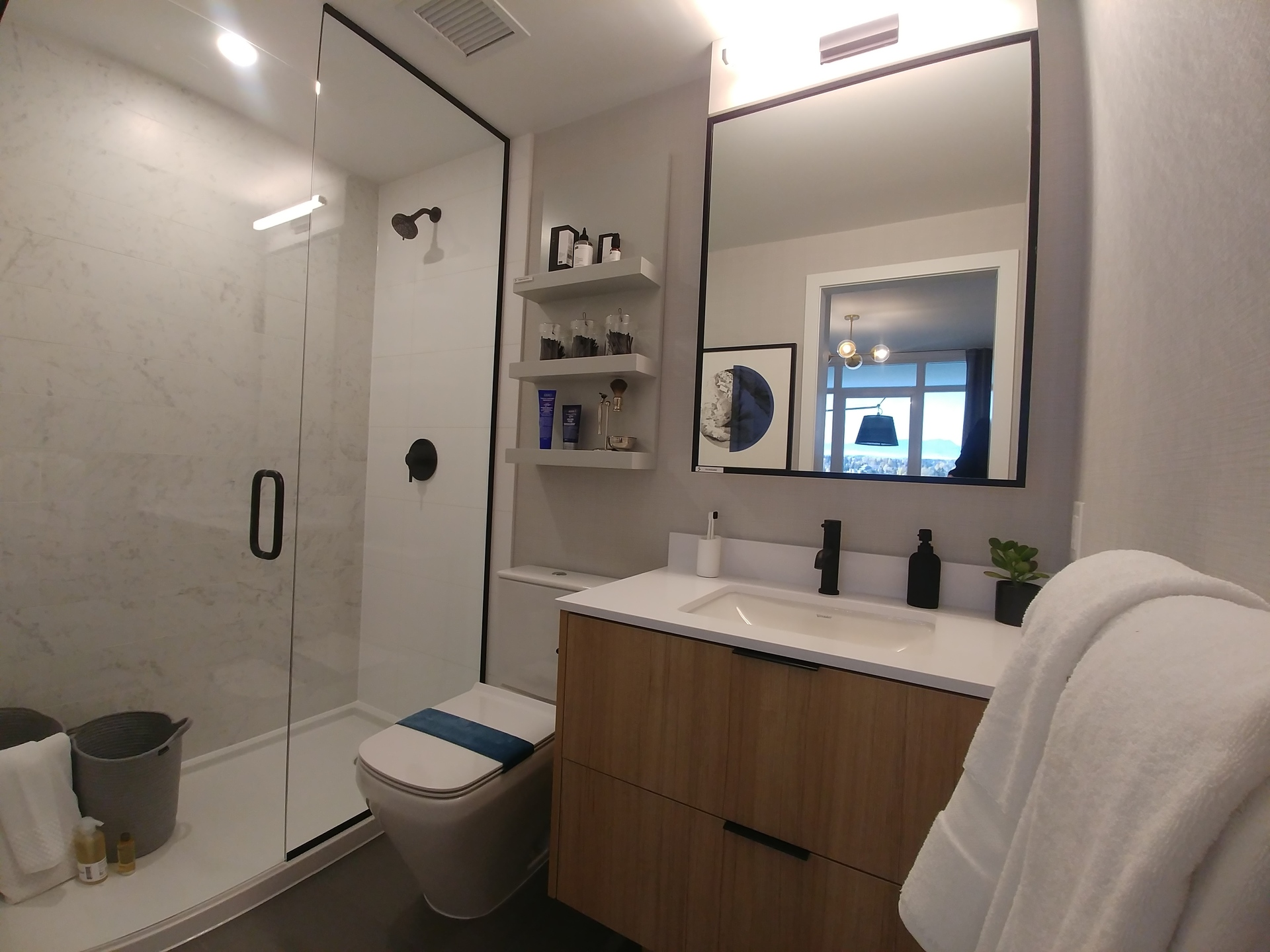 georgetown-ensuite-with-walk-in-shower-in-teak at Georgetown (13645 102 Avenue, Surrey Central (Central City), North Surrey)