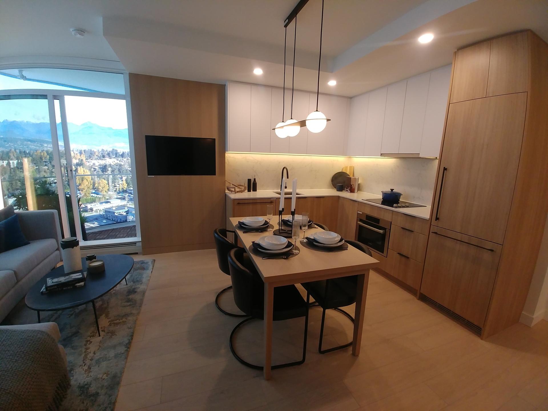 georgetown-one-kitchen-two-bed-kitchen-in-teak-scheme at Georgetown (13645 102 Avenue, Surrey Central (Central City), North Surrey)