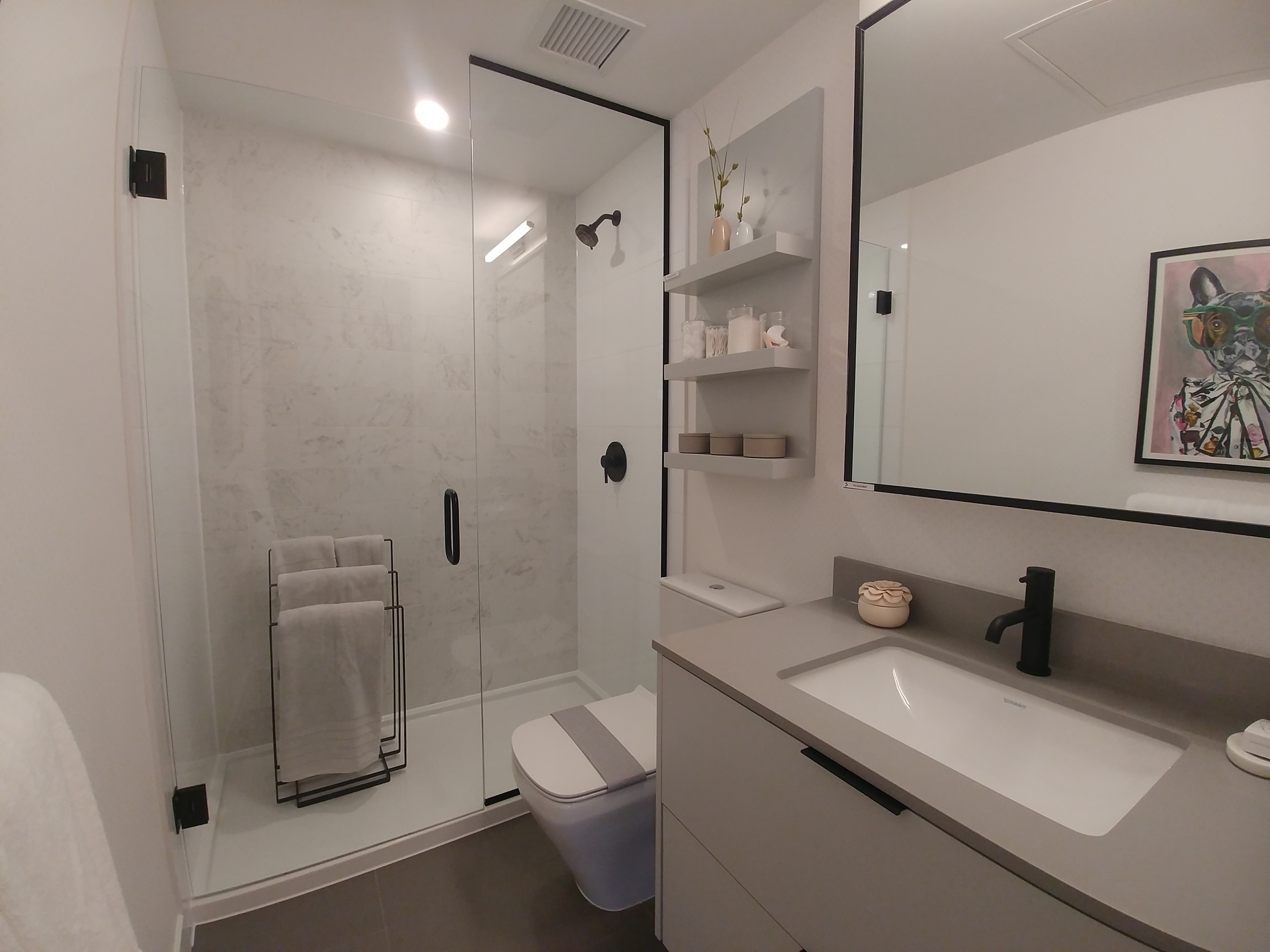 georgetown-one-main-bathroom-with-included-walk-in-shower at Georgetown (13645 102 Avenue, Surrey Central (Central City), North Surrey)