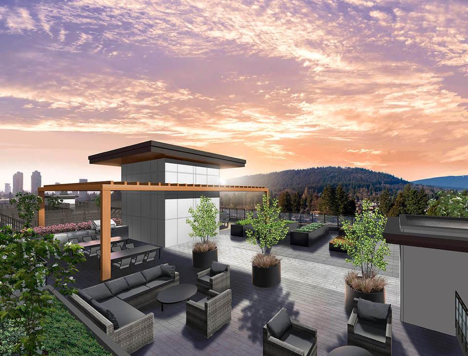 Vista rooftop amenity space at Vista (700 Clarke Road, Coquitlam West, Coquitlam)