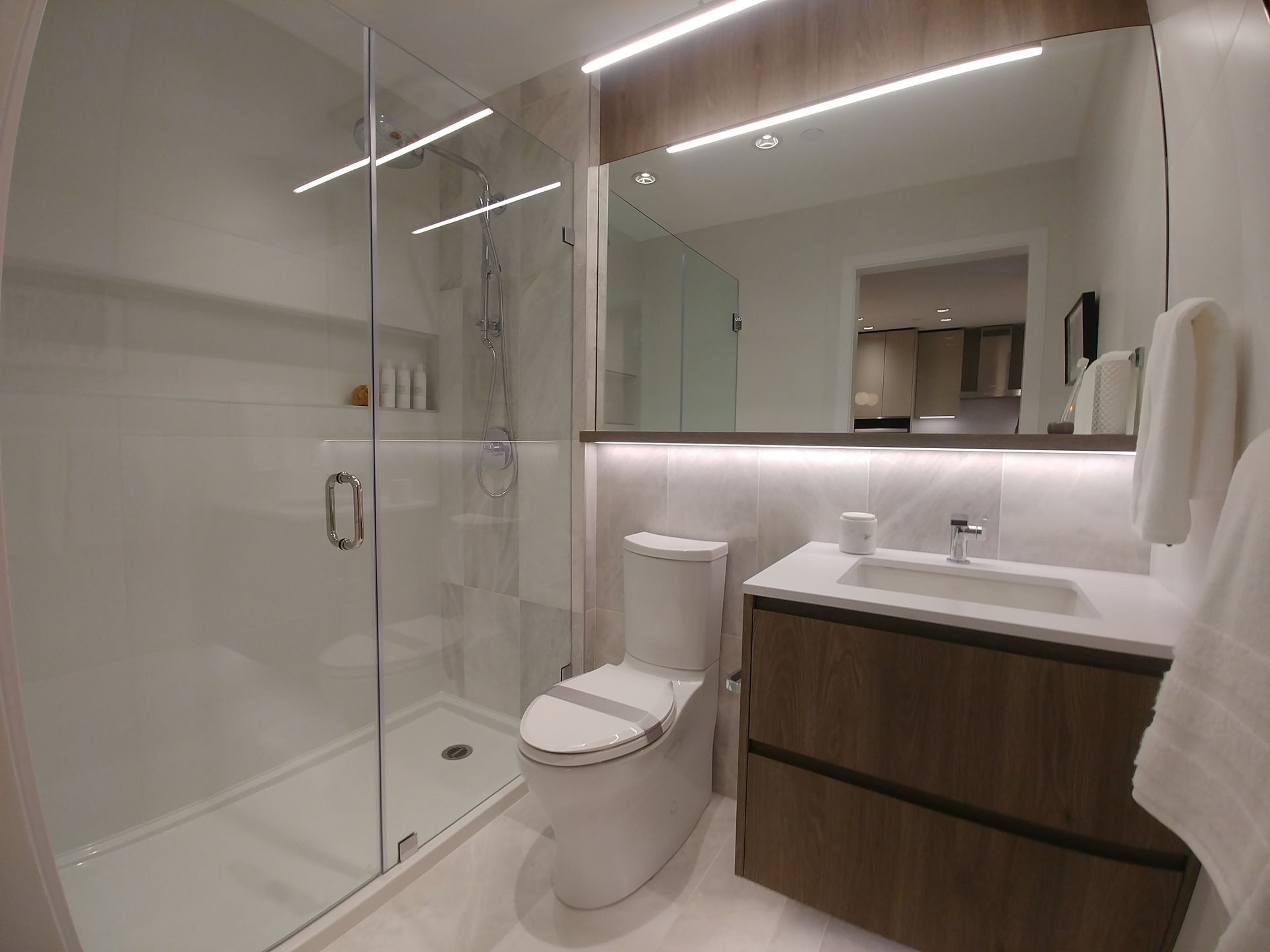 highline-junior-2-bed-b-plan-bathroom-with-included-walk-in-shower at Highline (6811 Sussex Street, Metrotown, Burnaby South)