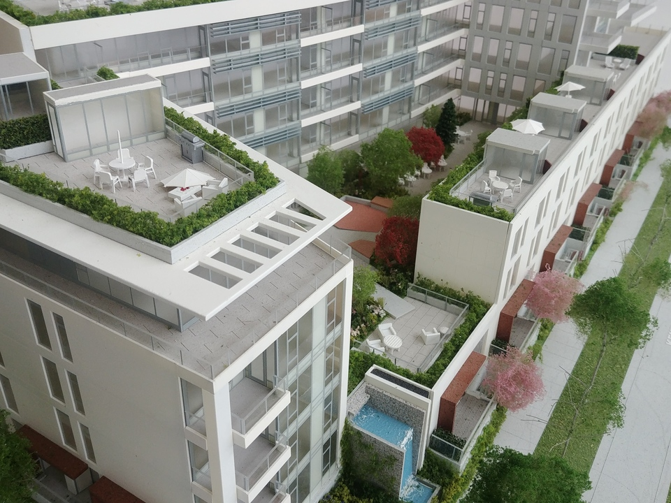 Mode inner courtyard at Mode - River District (3438 Sawmill Crescent, Champlain Heights, Vancouver East)
