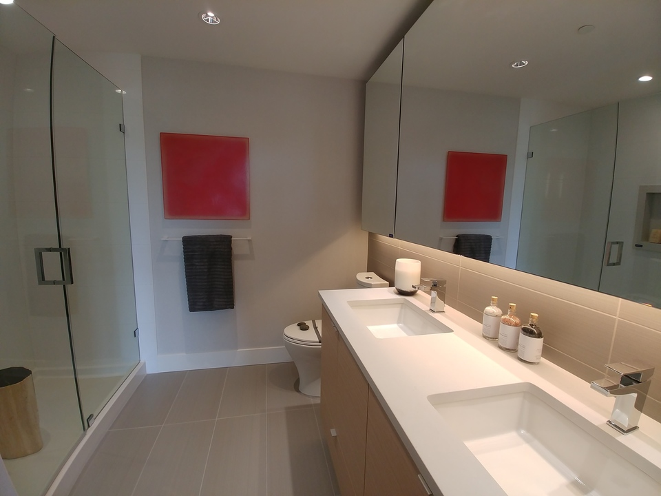 Master ensuite bathroom at Mode - River District (3438 Sawmill Crescent, Champlain Heights, Vancouver East)
