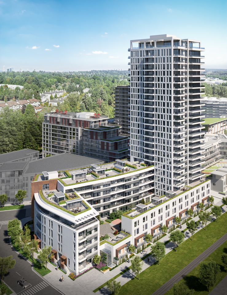 mode-aerial-rendering at Mode - River District (3438 Sawmill Crescent, Champlain Heights, Vancouver East)