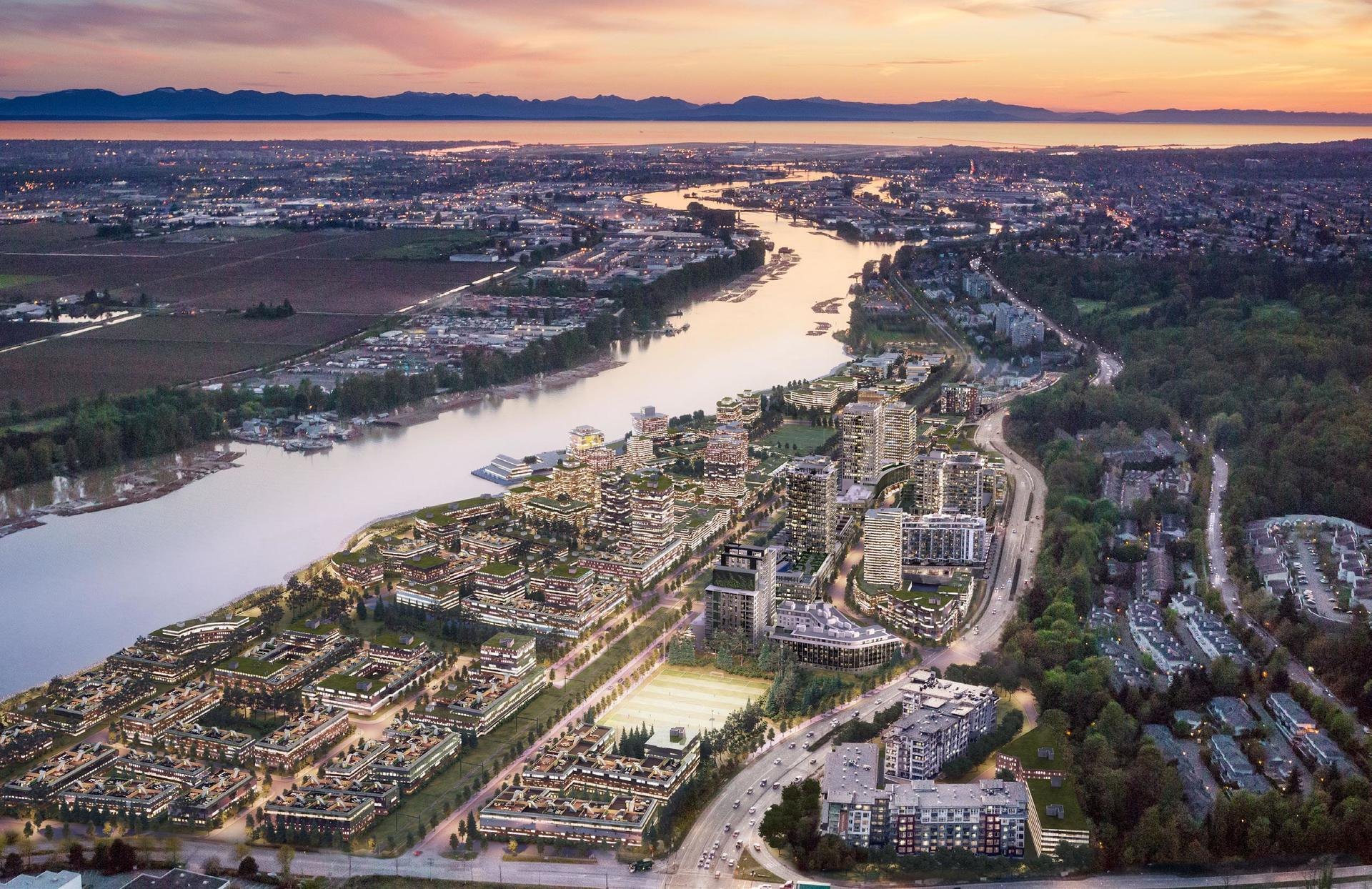 River District Aerial View at Mode - River District (3438 Sawmill Crescent, Champlain Heights, Vancouver East)