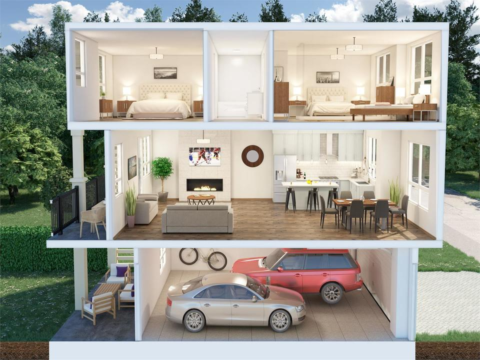 stanley-green-townhomes-dollhouse-view at Stanley Green Townhomes (430 Duncan Street, Queensborough, New Westminster)