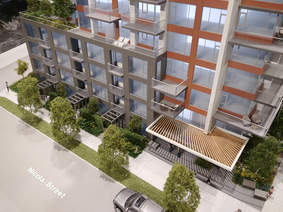 davie-nicola-lobby-and-3-townhomes at Davie and Nicola (1188 Nicola, West End VW, Vancouver West)