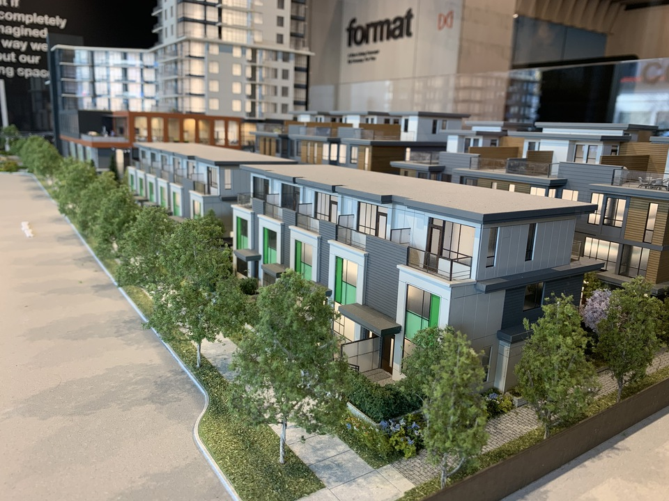Format NE corner with townhomes and tower at FORMAT (1503 Kingsway Street, Knight, Vancouver East)
