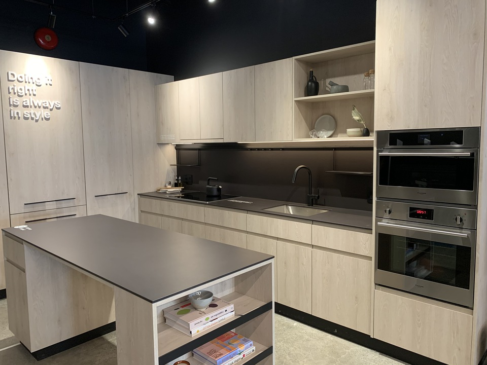 Format display kitchen with island upgrade in light colour at FORMAT (1503 Kingsway Street, Knight, Vancouver East)