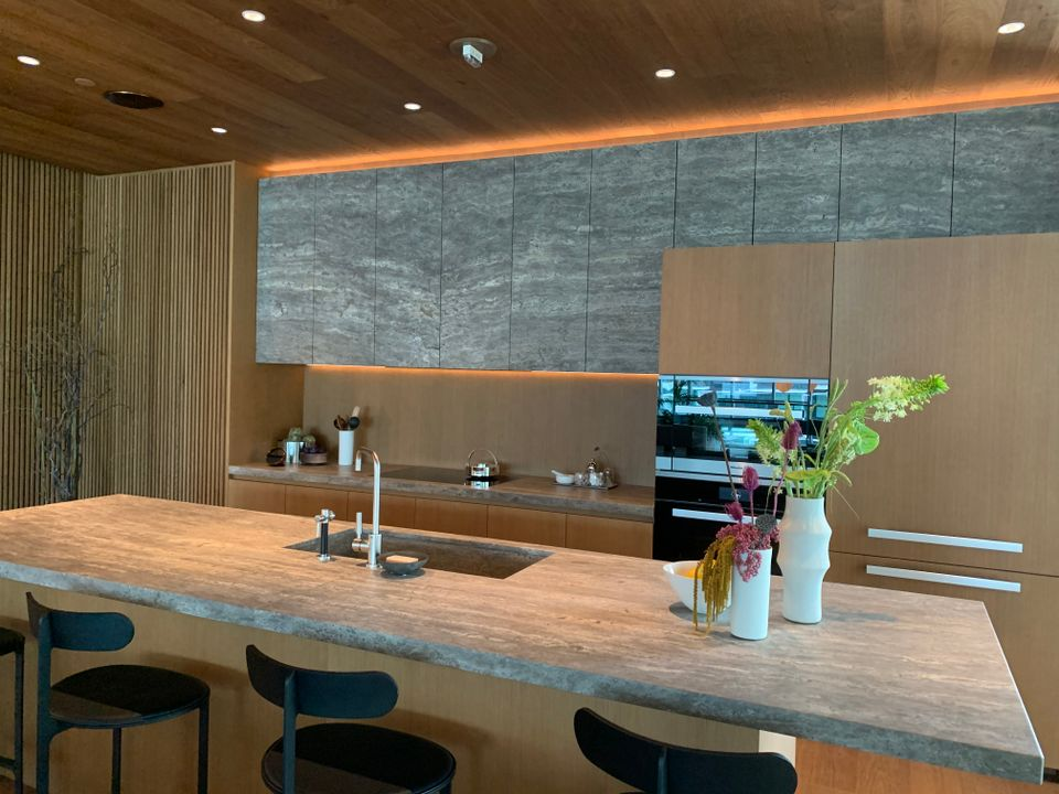 1515 observatory suite kitchen in natural colour scheme at Fifteen Fifteen (1515 Alberni Street, Coal Harbour, Vancouver West)