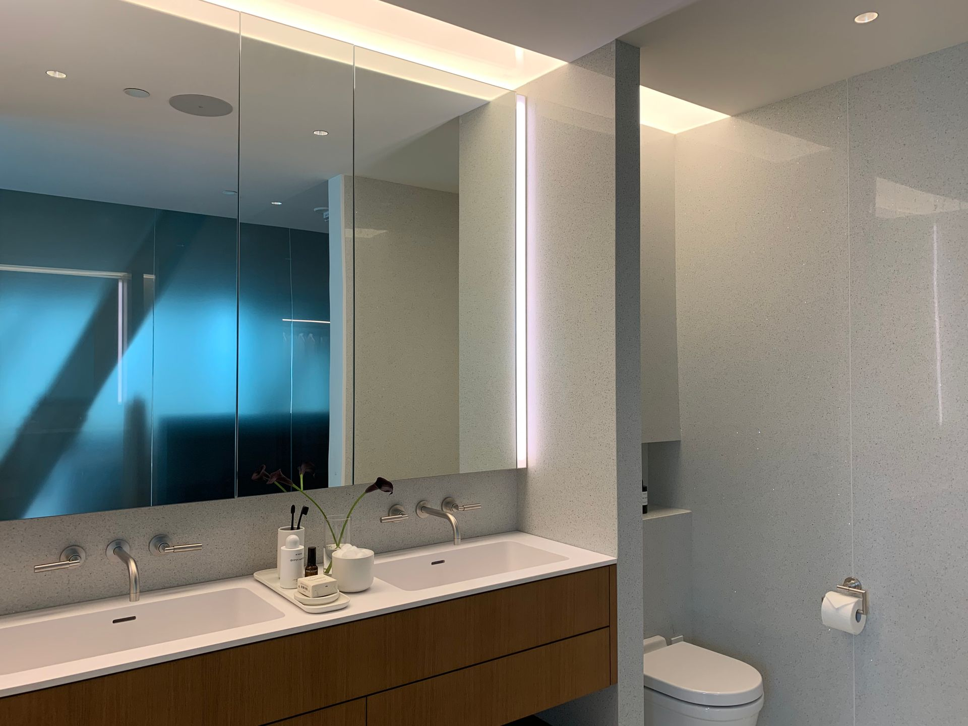 1515 ensuite with white terrazo throughout at Fifteen Fifteen (1515 Alberni Street, Coal Harbour, Vancouver West)