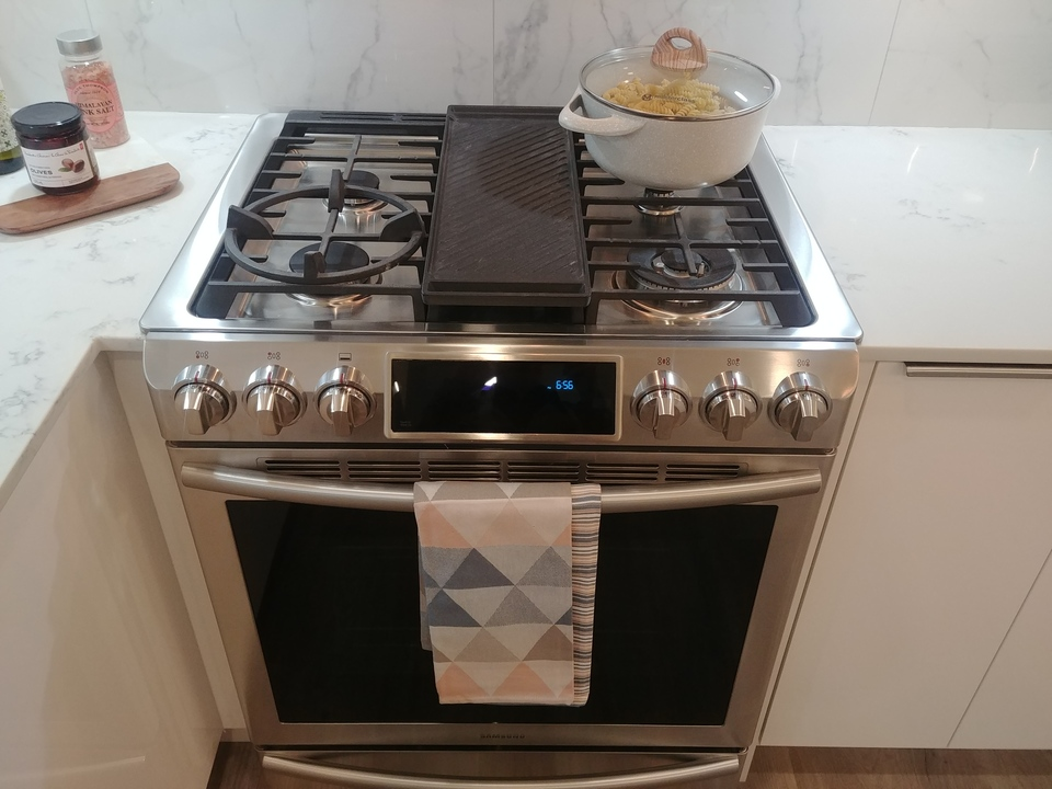 aristotle-samsung-5-burner-gas-stove at Aristotle (20203 84 Avenue, Willoughby Heights, Langley)