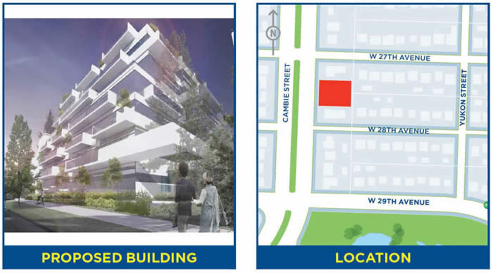 4338 Cambie- Artist's rendering and site location at 4338-4362 Cambie (4338-4362 Cambie Street, Cambie, Vancouver West)