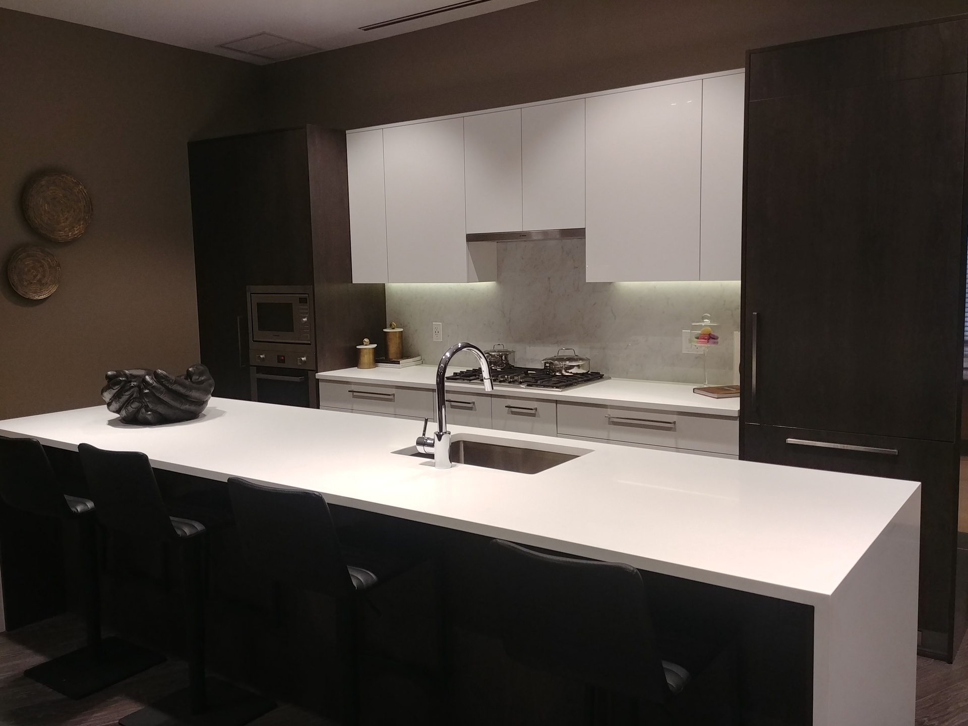 sun-towers-2-kitchen-in-dark-colour-scheme at Sun Towers 2 Metrotown (6380 Silver Avenue, Metrotown, Burnaby South)