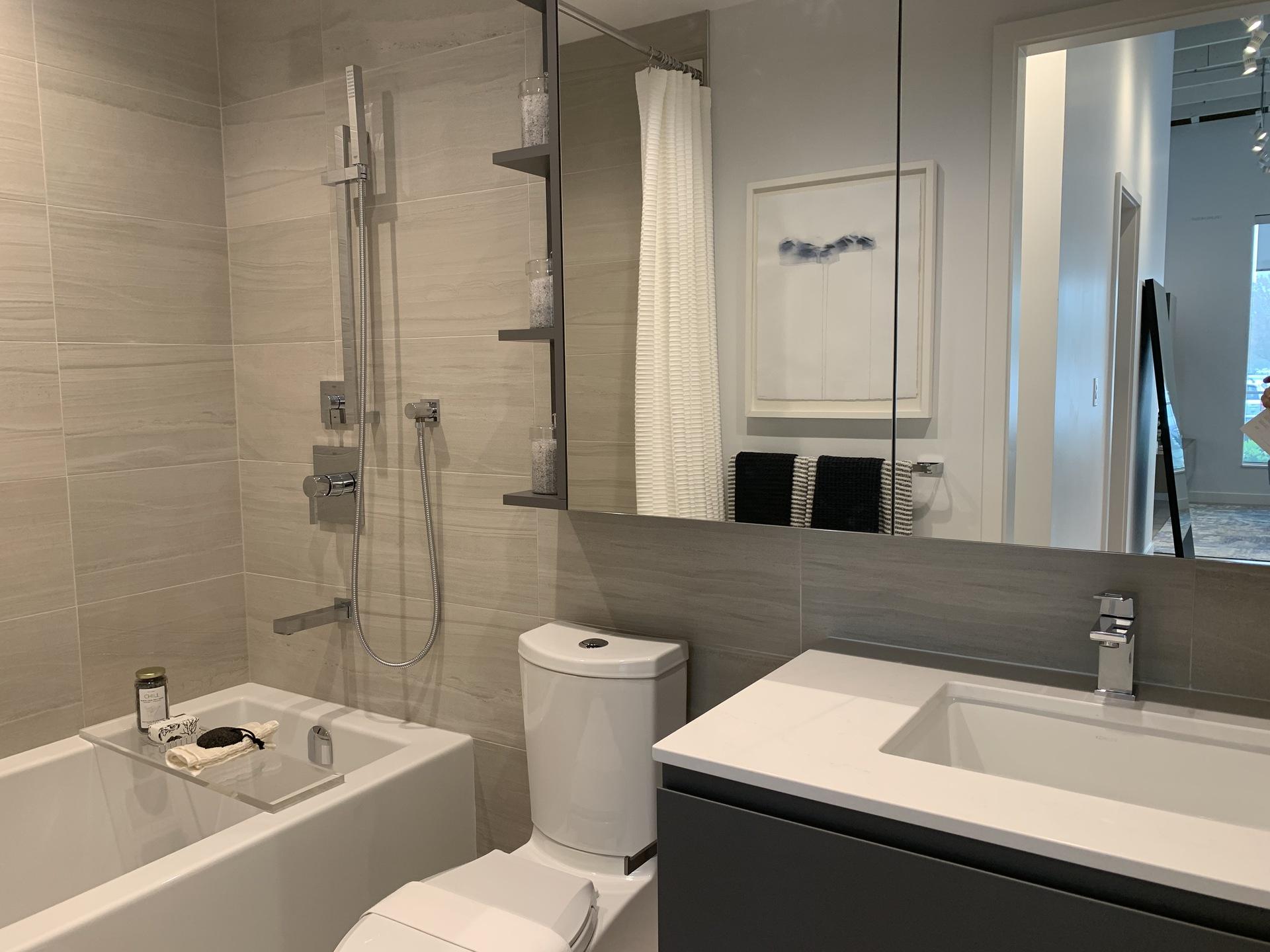 RC bathroom in dark colour scheme at RC at CF Richmond Centre (6331 Number 3 Road, Brighouse, Richmond)