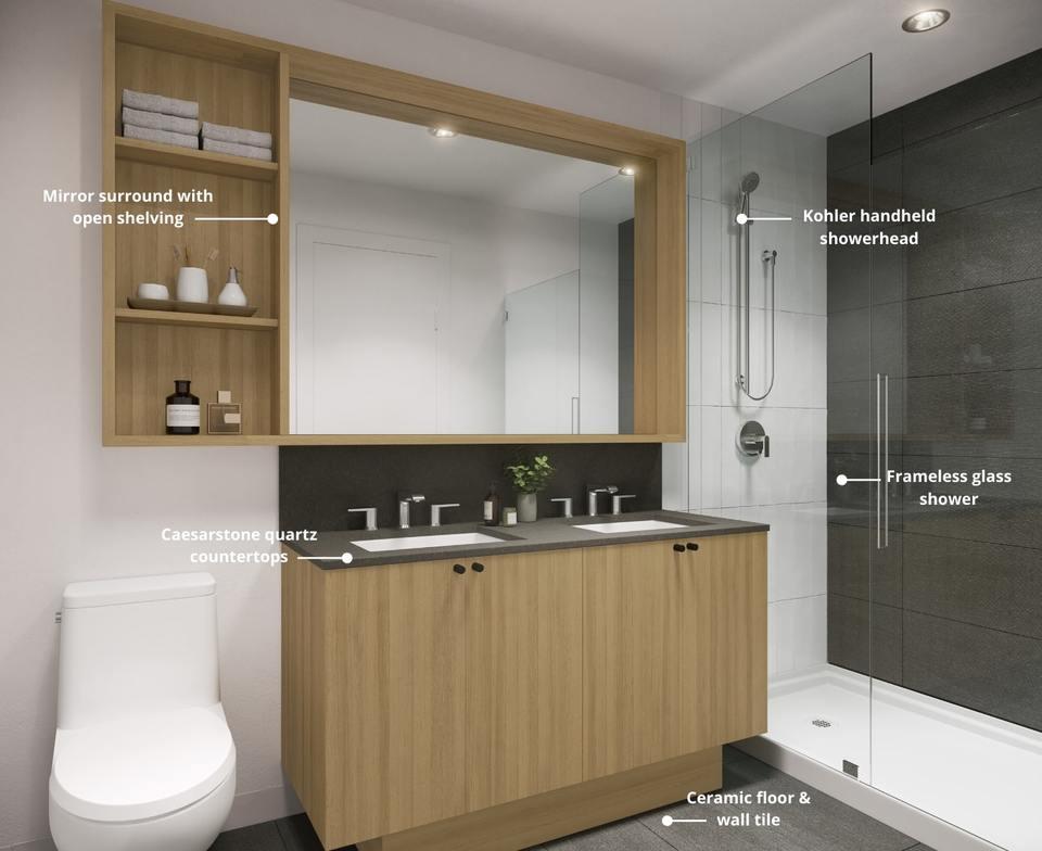 Port & Mill bathroom rendering at Port & Mill (645 Como Lake Avenue, Coquitlam West, Coquitlam)