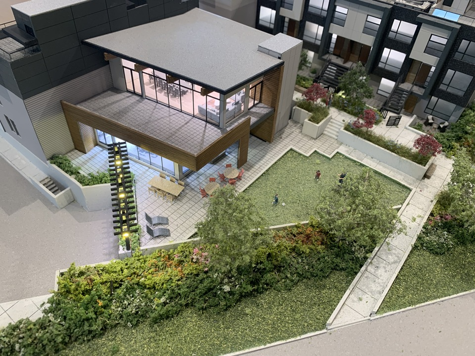 Kin - amenity building and underground parking entrance at The Kin Collection (7470 Buller Avenue, Metrotown, Burnaby South)
