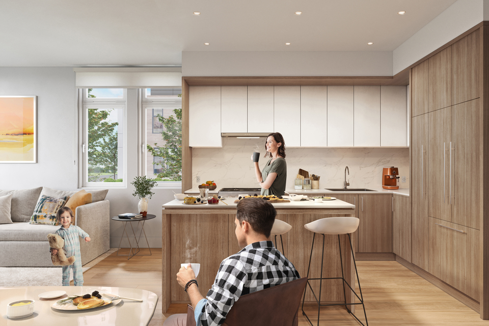 kin-collection-burnaby-townhomes-boulevard-collection-light-kitchen at The Kin Collection (7470 Buller Avenue, Metrotown, Burnaby South)