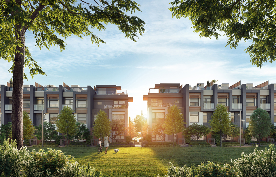 kin-collection-burnaby-townhomes-parkside-rendering at The Kin Collection (7470 Buller Avenue, Metrotown, Burnaby South)