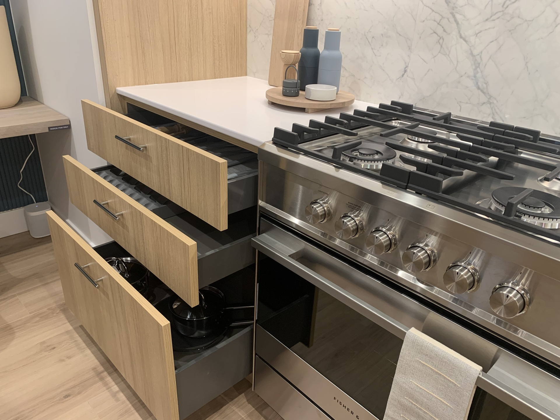 Kin - kitchen drawers at The Kin Collection (7470 Buller Avenue, Metrotown, Burnaby South)