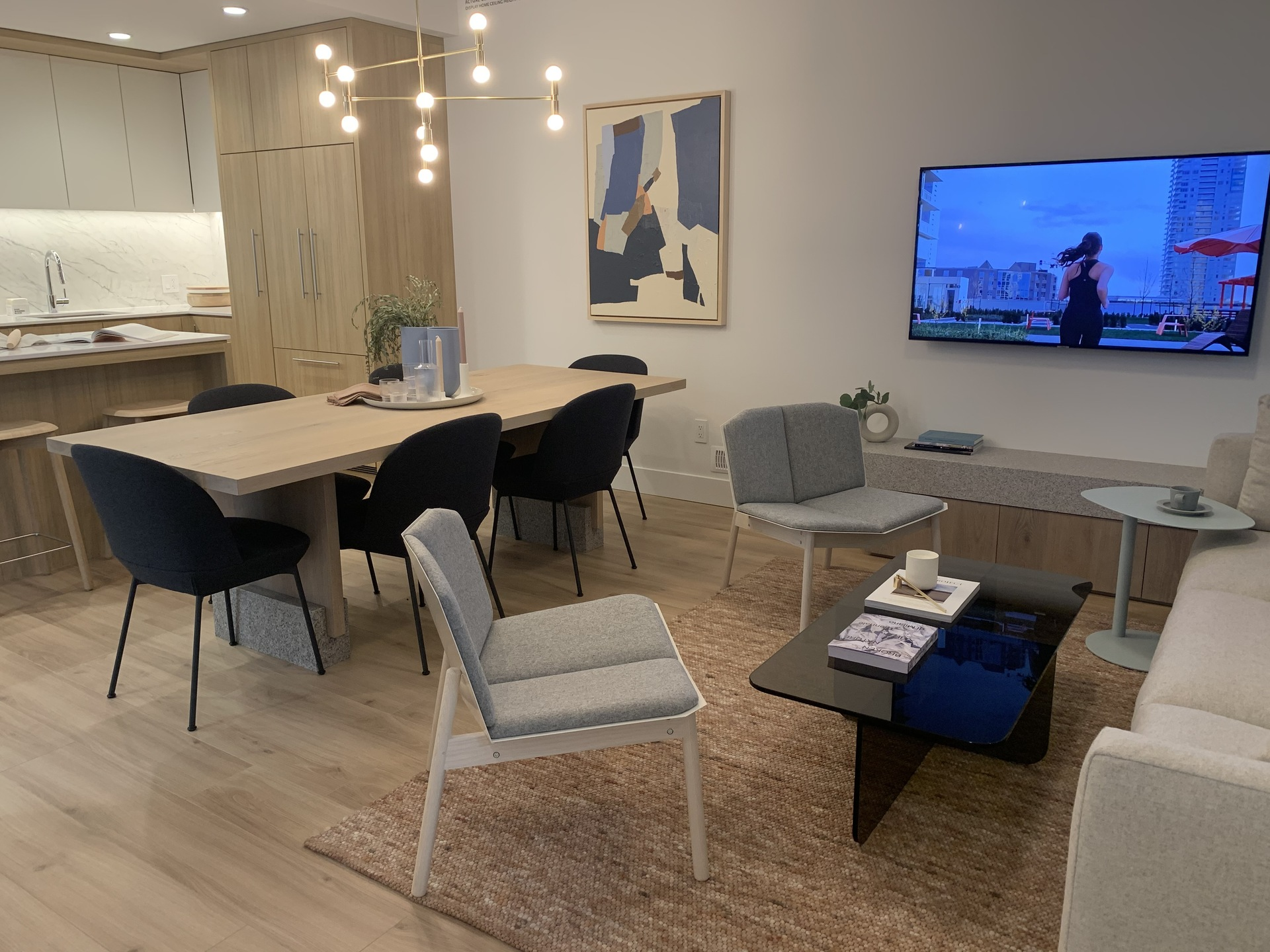 Kin - display home living area at The Kin Collection (7470 Buller Avenue, Metrotown, Burnaby South)