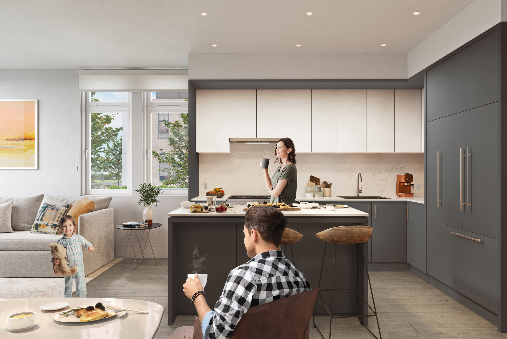 kin-collection-burnaby-townhomes-boulevard-collection-dark-kitchen at The Kin Collection (7470 Buller Avenue, Metrotown, Burnaby South)