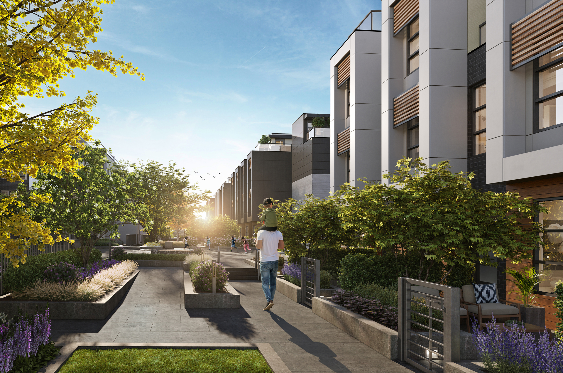 kin-collection-burnaby-townhomes-courtyard-rendering at The Kin Collection (7470 Buller Avenue, Metrotown, Burnaby South)